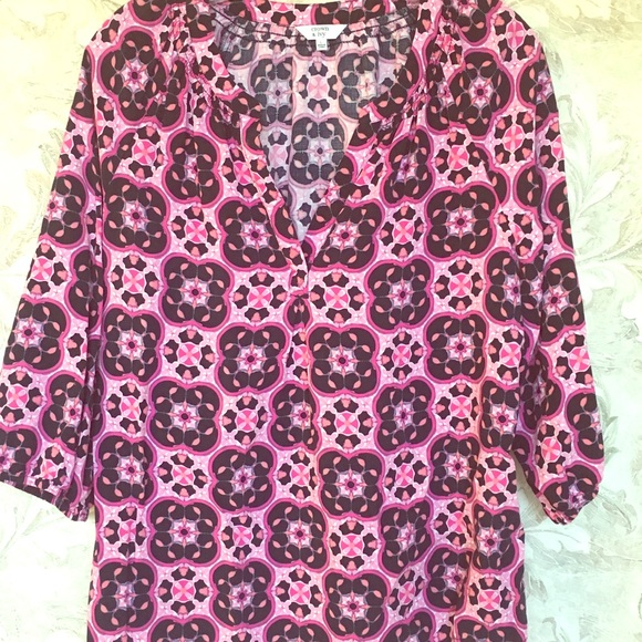 crown & ivy Tops - Purple & Black Geo Print Tunic Blouse